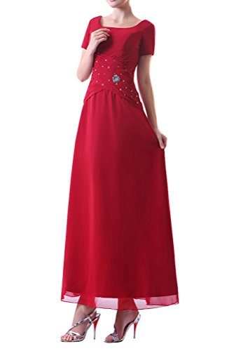 Cchappiness Women'S Ankle Length Short Sleeve Chiffon Mother Of Bride Dresses Red Us 6