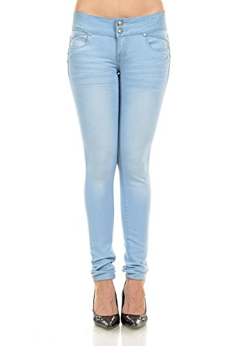 M. Michel Women´s Jeans Colombian Design, Butt Lift, Levanta Cola, Push-Up, Skinny - Style M516 - Light Blue - Size 07 (Light Blue Strech Jeans compare prices)