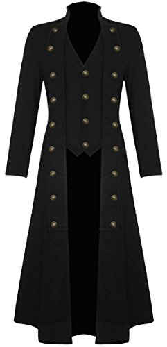 Mens Black Gothic Steampunk Military Long Trench Coat