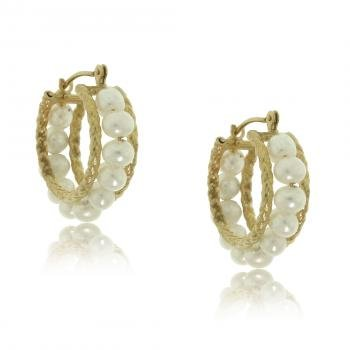 New Yellow Gold Rope Hoop Earrings with White Pearls