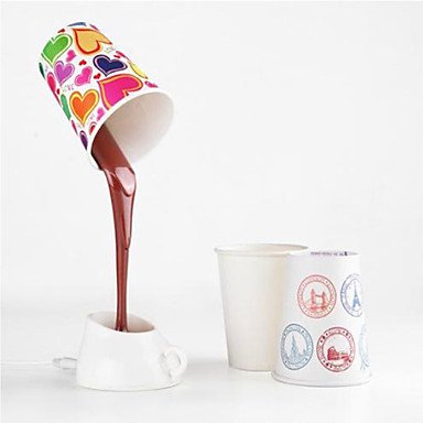 Ship In 24Hours Diy Pouring Coffee Design White Light Led Table Lamp (Usb/3Xaaa)