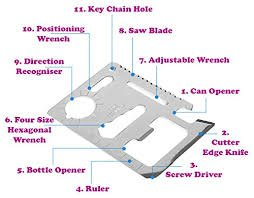 11-Tools-in-1 Stainless Steel Credit Card-Sized Survival Tool Silver