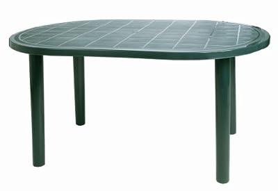 Resol Gala Outdoor Oval Garden Table - Green Plastic - 140 x 90cm