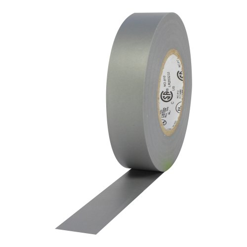 """Protapes Pro Plus Vinyl General Purpose Electrical Tape, 600V Dielectric Strength, 66' Length X 3/4"""" Width, Grey (Pack Of 100)"""