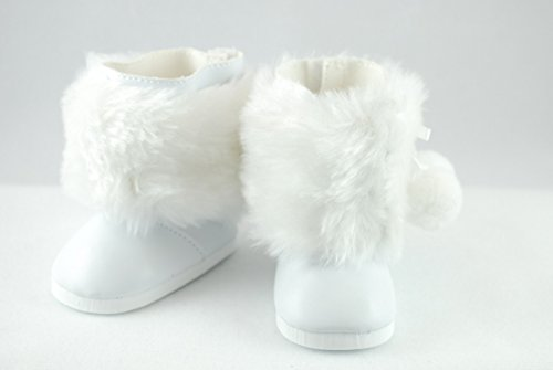 White Fur Pom Pom Boots for American Girl Dolls and Most 18 Inch Dolls