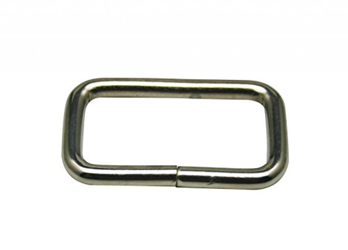 """Generic Metal Silvery Rectangle Buckle 2"""" X 0.85"""" Inside Dimension for Strap Keeper Pack of 10"""