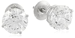 IGI Certified 18k White Gold, Round, Diamond 4-Prong Stud Earrings (4 cttw, H-I Color, SI1-SI2 Clarity)