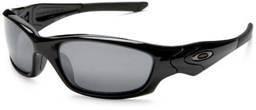 Oakley Men's Straight Jacket Iridium Polarized Sunglasses,Polished Black Frame/Black Lens,one size