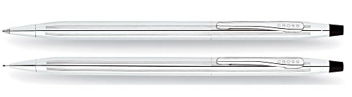 Classic Century Ballpoint Pen & Pencil Set, Chrome/Black Accent, Sold as 1 Set