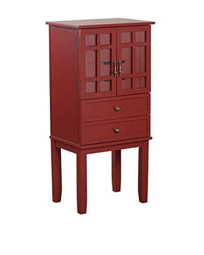 Powell Glass Door Jewelry Armoire, Red