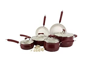 Paula Deen 15-Piece Kitchen Porcelain Cookware Set Nonstick Pots Pans - Red