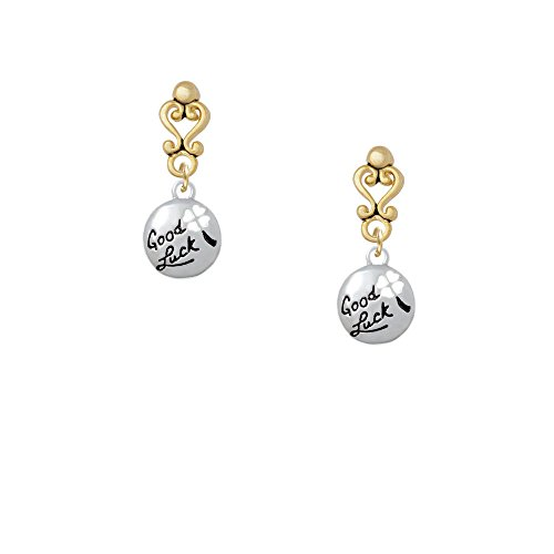 Good Luck Disc With Cutout Four Leaf Clover Gold Tone Filigree Heart Earrings