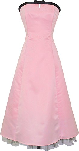 50'S Strapless Satin Formal Bridesmaid Gown Holiday Prom Dress, Large, Pink