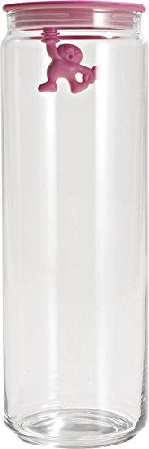 A di Alessi Gianni 'a Little Man Holding on Tight' Boîte de cuisine en verre avec couvercle en résine thermoplastique  - 200 cl - Rose