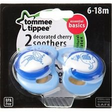 Tommee Tippee Essential Basics Decorated Cherry Soothers 6-18 months (2-pack) - BebeHogar.com