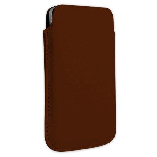 Braun Kunstleder Handytasche Smartphone für AURO M101 und 301