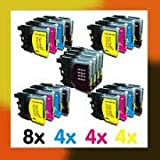 MULTIPACK ! 20x COMPATIBLE INK CARTRIDGES TO BROTHER LC985 LC39 for Brother MFC-J220 / MFC-J265W / MFC-J410 / DCP-J125 / DCP-J315W / DCP-J415W / DCP-J515W / 8x BLACK + 4x CYAN + 4x MAGENTA + 4x YELLOW