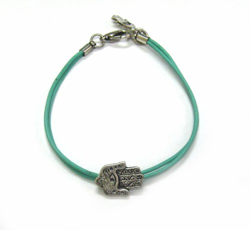 Green Cord Fashion Bracelet with Antique Hamsa Charm