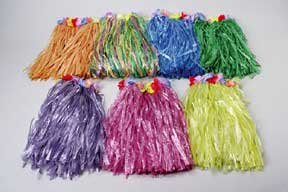 LUAU - 6 DELUXE kids FLOWERED color HULA skirts -wholesale LUAU party supplies