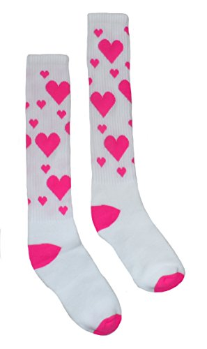 Hearts Knee High Athletic Womens' Socks (Sock Sizes: 9-11 - Shoe Size: 5-10, White Pink) (Pink Heart Socks White)