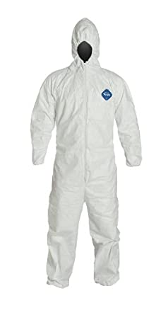 DuPont Tyvek TY127S Coverall with Respirator-Fit Hood, Disposable, Elastic Cuff, 2X-Large, White, TAA Compliant (Pack of 25)