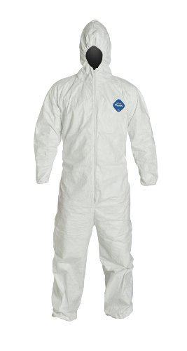DuPont TY127S Tyvek Fabric Protective Coverall with Hood, Disposable, Elastic Cuff, X-Large, White (Sealed Bag of 1)