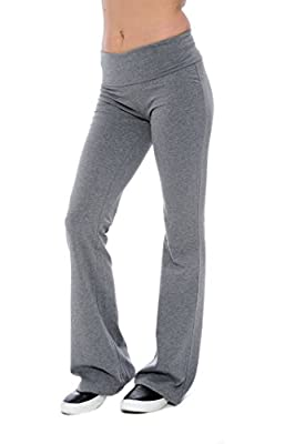 Fold-over Waistband Stretchy Cotton-blend Yoga Pants