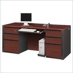 Bestar Bestar Prestige + Double Pedestal Wood Computer Desk in Bordeaux