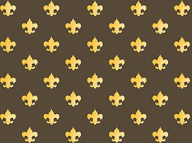 BSA Boy Scouts Of America Fleur De Lis Cotton Fabric BY THE HALF YARD Brown