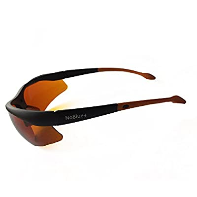 """NoBlue Blue Blocking Sunglasses Orange/Amber Tinted Lenses Anti-Glare (includes """"Hack Your Sleep"""" Ebook) Blocks 99.9% of Blue and UV Rays Blue Ray Blocking Glasses, Prevents Eye Fatigue, Soft Temples"""