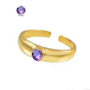 14k Solid Gold Amethyst CZ February Birthstone Toe Ring