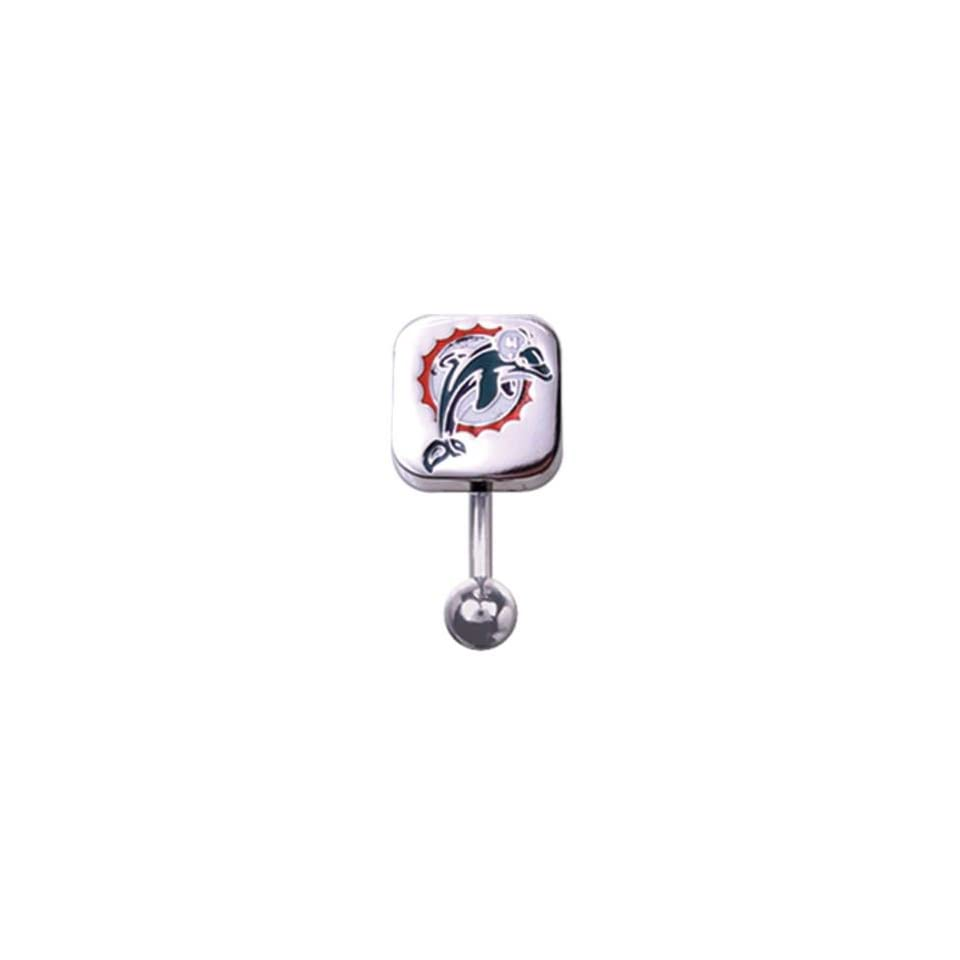 316L Stainless Steel Miami Dolphins Belly Ring   14G (1.6mm), 3/8 Bar Length   Sold Individually