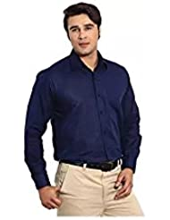 PSK Regular COTTON Full Sleeve Men's Formal Shirt Navy Blue