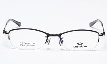 Prescription Eyeglass Frames For Big Heads : Amazon.com: Black New Fashion Womens Half Rimless Oval ...
