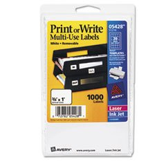 * Print or Write Removable Multi-Use Labels, 3/4 x 1, White, 1000/Pack