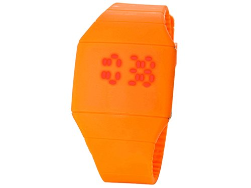 Moonar®Unisex Ultra Thin Cool Red Led Touch Screen Digital Display Rubber Wrist Watch(Orange)