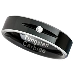6MM Tungsten Carbide Ring Wedding Band Two Tone Black Plated Solitaire one stone CZ simulated diamond [Size 6]