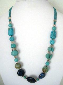 Afghani Necklace Turquoise with Lapis Lazuli