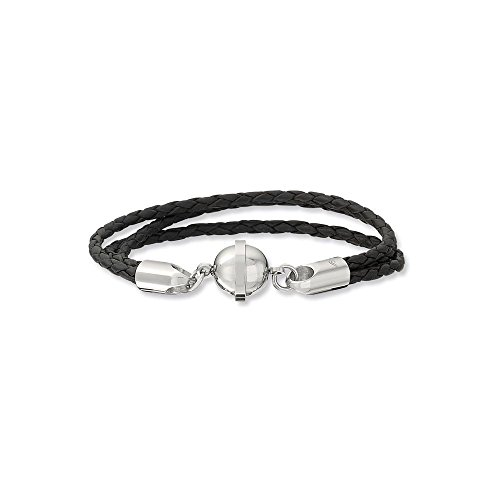 Leather & Stainless Steel Bracelet With Magnetic Clasp By Us Gems
