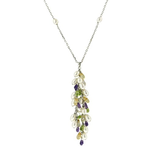 Sterling Silver Freshwater Cultured Pearl, Amethyst, Citrine and Peridot Grape Cluster Dangle Tin Cup Necklace, 16.75+2.75
