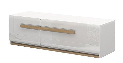 TV - Unterschrank Lano 03, Farbe: Weiß - Abmessungen: 48 x 160 x 54 cm (H x B x T)