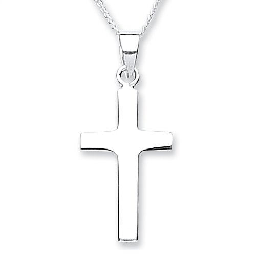 Chic Silver Plain Medium Cross with 46cm Chain