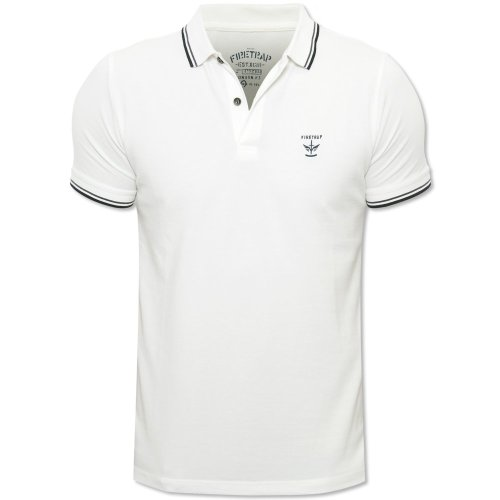 Firetrap Mens Bonewhite Lazer Slim Fit Tipped Button Collar Polo Shirt Bone White XX-Large