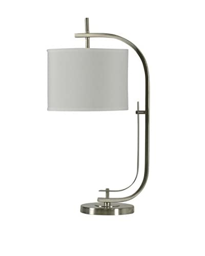 Stylecraft Modern Clamp Shape 1 Light Table Lamp With Linen Shade Brushed Steel White Fashion