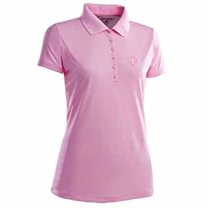 New Orleans Saints Ladies Pique Xtra Lite Polo Shirt (Pink) by Antigua