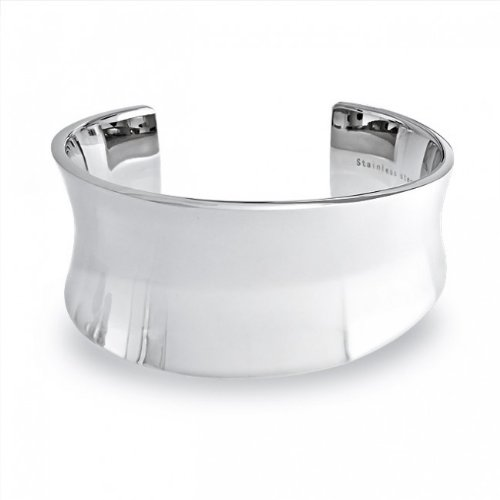 Bling Jewelry High Polished Modern Curved Stainless Steel Cuff Bangle Bracelet