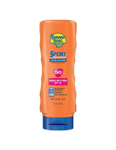 Banana Boat Sport Performance Sunblock Lotion SPF 50, 8-Ounce Bottles (Pack of 2)