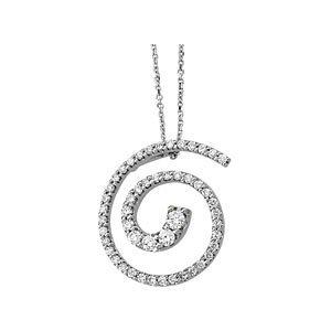 Genuine IceCarats Designer Jewelry Gift 14K White Gold Journey Diamond Pendant