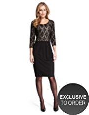 M&S Collection Sequin & Floral Lace Bodice Dress