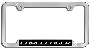 Challenger License Plate Frame, Chrome Finish Plastic Cutout Bottom Dodge